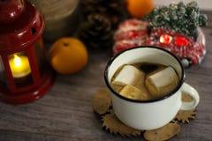 Καφές με marshmallow Έννοια διακοπών στοκ φωτογραφίες