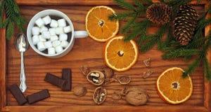 Καφές με marshmallow, τη σοκολάτα, τα ξύλα καρυδιάς και τους κλάδους χριστουγεννιάτικων δέντρων επάνω από την όψη νέο έτος Χριστο Στοκ Εικόνες