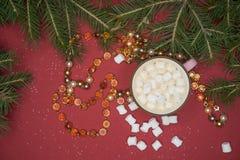 Καφές νέος-έτους με marshmallow Στοκ εικόνες με δικαίωμα ελεύθερης χρήσης