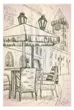 Καφές οδών στην παλαιά απεικόνιση πόλης γραφική σκίτσων Στοκ εικόνα με δικαίωμα ελεύθερης χρήσης