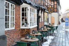 Καφές οδών στην παλαιά πόλη Ribe, Δανία, Ευρώπη τον Ιανουάριο του 2016 Στοκ φωτογραφίες με δικαίωμα ελεύθερης χρήσης