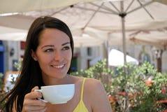 καφές που απολαμβάνει τι& Στοκ Εικόνα