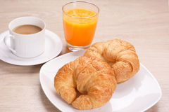 Καφές προγευμάτων και χυμός από πορτοκάλι στοκ εικόνες