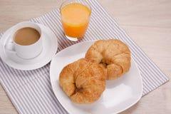 Καφές προγευμάτων και χυμός από πορτοκάλι στοκ φωτογραφίες