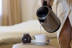 Καφές πρωινού στο σπορείο στοκ φωτογραφίες με δικαίωμα ελεύθερης χρήσης