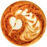 Καφές τέχνης Latte που απομονώνεται στο άσπρο υπόβαθρο Στοκ Φωτογραφίες