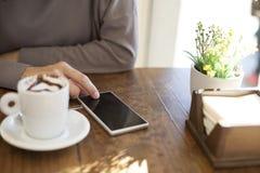 Καφές τηλεφωνικής αγάπης Στοκ Φωτογραφίες