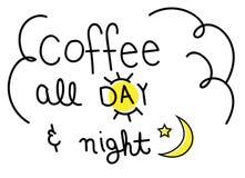 Καφές όλη την ημέρα και νύχτα Στοκ φωτογραφία με δικαίωμα ελεύθερης χρήσης