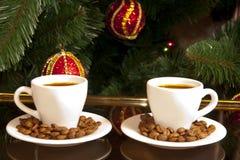 καφές δύο Χριστουγέννων Στοκ φωτογραφία με δικαίωμα ελεύθερης χρήσης