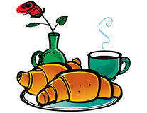 καφές croissants απεικόνιση αποθεμάτων