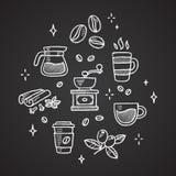 Καφές doodles Στοκ εικόνα με δικαίωμα ελεύθερης χρήσης