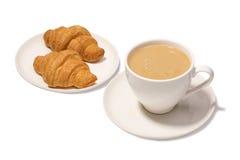 Καφές Latte και croissants Στοκ Εικόνες