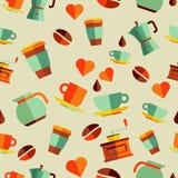 Καφέ επίπεδη απεικόνιση σχεδίων εικονιδίων άνευ ραφής Στοκ Εικόνα
