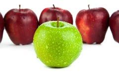 Καφέ μήλα που παρατάσσονται σε μια σειρά και μια πράσινη κινηματογράφηση σε πρώτο πλάνο μήλων Στοκ Εικόνες