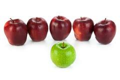 Καφέ μήλα που παρατάσσονται σε μια σειρά και μια πράσινη κινηματογράφηση σε πρώτο πλάνο μήλων Στοκ φωτογραφίες με δικαίωμα ελεύθερης χρήσης