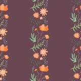Καφέ σχέδιο χρώματος με τις κάθετες σειρές λουλουδιών απεικόνιση αποθεμάτων