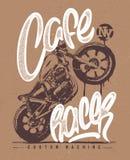 Καφέδων δρομέων εκλεκτής ποιότητας τυπωμένη ύλη μπλουζών μοτοσικλετών συρμένη χέρι Στοκ Φωτογραφίες