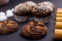 καφέδων σχεδίου καθορισμένα γλυκά εστιατορίων ιδέας συμπαθητικά Στοκ Εικόνα