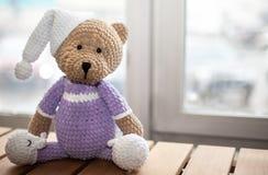 Καφετής γεμισμένος ζωικός teddy αντέχει στα ιώδη ενδύματα και το άσπρο καπέλο διάστημα αντιγράφων Εκλεκτική εστίαση Στοκ Εικόνες
