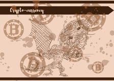 Καφετής δράκος καρτών που πιάνεται bitcoin διανυσματική απεικόνιση