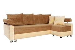 Καφετής και μπεζ καναπές που απομονώνεται στο λευκό Στοκ Φωτογραφίες
