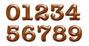 Καφετής και σχολιάστε τις επιστολές, αλφάβητο, αριθμοί, μηδέν, ένας, δύο, τρεις, τέσσερις, τρισδιάστατη απεικόνιση ελεύθερη απεικόνιση δικαιώματος