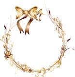 καφετής κύκλος κορδελλών πλαισίων χρυσός Στοκ Εικόνες