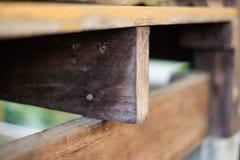 Καφετής ξύλινος με το καρφί για το εγχώρια υπόβαθρο ή τη σύσταση Στοκ Φωτογραφίες