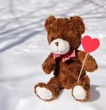 Καφετής teddy αντέχει κάθεται snowdrift του χιονιού στοκ φωτογραφία
