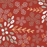 Καφετί άνευ ραφής σχέδιο θερινών λουλουδιών ελεύθερη απεικόνιση δικαιώματος