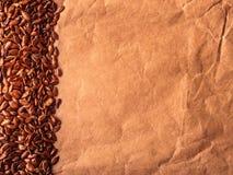 Καφετί ακατέργαστο πλαίσιο συνόρων λιναρόσπορου σπόρων λιναριού Στοκ Εικόνες