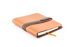 Καφετί βιβλίο ημερολογίων δέρματος στοκ εικόνα