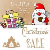 Καφετί διάνυσμα προτύπων πώλησης Άγιου Βασίλη Χριστουγέννων Στοκ Εικόνα