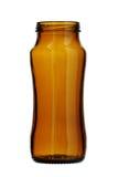 Καφετί ευρύ στόμα μπουκαλιών γυαλιού που απομονώνεται στο άσπρο υπόβαθρο στοκ εικόνα