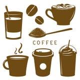 Καφετί διάνυσμα κινούμενων σχεδίων εικονιδίων προγευμάτων φλυτζανιών καφέ Στοκ εικόνα με δικαίωμα ελεύθερης χρήσης