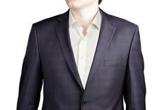 Καφετί καρό με το μπλε Windowpane κοστούμι στοκ φωτογραφία