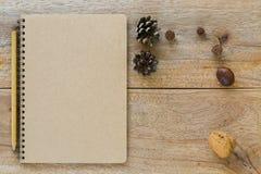 Καφετί κενό σημειωματάριο με το ξύλινο μολύβι κοντά στον ξηρό κώνο πεύκων che Στοκ Φωτογραφίες