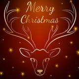 Καφετί κεφάλι ελαφιών Χαρούμενα Χριστούγεννας Στοκ Φωτογραφία