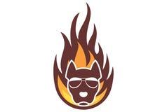 Καφετί λογότυπο σκυλιών πυρκαγιάς απεικόνιση αποθεμάτων