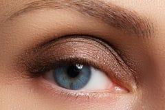 Καφετί μάτι Makeup Σύνθεση ματιών Το εκλεκτής ποιότητας ύφος αποτελεί Στοκ φωτογραφίες με δικαίωμα ελεύθερης χρήσης