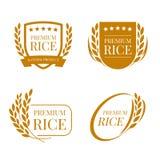Καφετί ορυζώνα ορυζώνα ρυζιού διανυσματικό σχέδιο σημαδιών λογότυπων εμβλημάτων φυσικών προϊόντων ασφαλίστρου οργανικό Στοκ Εικόνα