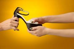 Καφετί παπούτσι γυναικών με το θηλυκό και το αρσενικό σε ετοιμότητα Στοκ Φωτογραφίες