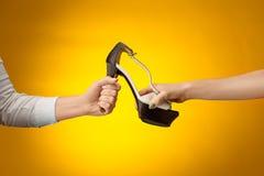 Καφετί παπούτσι γυναικών με το θηλυκό και το αρσενικό σε ετοιμότητα Στοκ Φωτογραφία