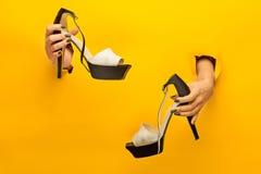 Καφετί παπούτσι γυναικών που απομονώνεται σε διαθεσιμότητα Στοκ Φωτογραφίες