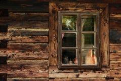Καφετί παλαιό παράθυρο Στοκ Εικόνα