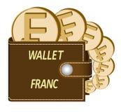 Καφετί πορτοφόλι με τα νομίσματα φράγκων απεικόνιση αποθεμάτων
