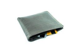 Καφετί πορτοφόλι με τις πιστωτικές κάρτες Στοκ Φωτογραφίες