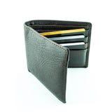 Καφετί πορτοφόλι με τις πιστωτικές κάρτες Στοκ Εικόνα