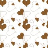 καφετί πρότυπο καρδιών Στοκ Εικόνα