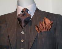 Καφετί ριγωτό σακάκι, δεσμός, χαρτομάνδηλο μαυρίσματος Στοκ Φωτογραφία